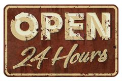 Open 24 Hours Sign Vintage. Rusted grunge look on red background with 3D font lettering and cursive royalty free stock image