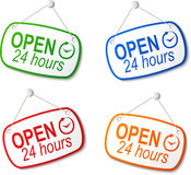 Open 24 hours signs on white Stock Image