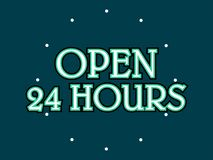 Open 24 hours stock vector royalty free illustration