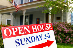 Open house. Sign if front of house for sale Royalty Free Stock Images