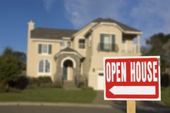 Open house. Sign with soft focus house in background Stock Image