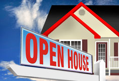Open house or home. 3d illustration of open house sign with modern home in background Royalty Free Stock Images