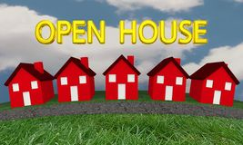 Open House Homes for Sale Real Estate. 3d Illustration Royalty Free Stock Photography