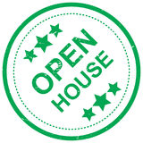 Open house. An illustration of a green symbol with the text 'open house' and stars Royalty Free Stock Image