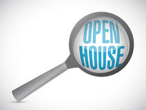 Open house magnify glass sign concept Stock Images