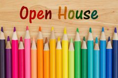 Open House message. Open House text with colorful pencil crayons on a desk Stock Photography