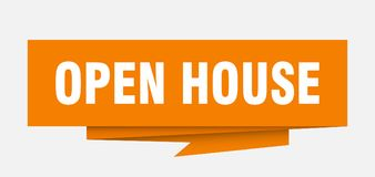 Open house. Sign.  paper origami speech bubble.  tag.  banner royalty free illustration