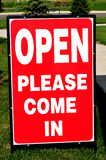 Open House (Please Come in) Sign Stock Photo