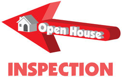 Open House in red arrow pointing to a 3D  house for inspec. Open House in red arrow pointing to a 3D  house with the concept of sale or rent or inspection in Royalty Free Stock Photo
