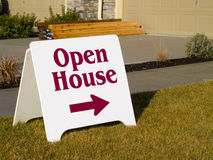 Open House sign. A close up on a sign in front of a house Stock Photography