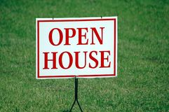 Open House Sign. Photographed open house sign in front of a house for sale in Georgia Royalty Free Stock Image