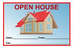 Open house sign, vector illustration Royalty Free Stock Image