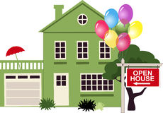 Open house. Suburban house with a sign Open House in front of it with balloons, no transparencies, vector illustration Royalty Free Stock Image