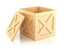 Open houten 3D doos Stock Afbeeldingen