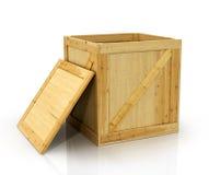 Open houten doos royalty-vrije stock afbeelding