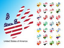 Open human handprint with national flag inside. Set of palm with flags stock illustration