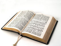 Open hymnbook. Old open songbook with gilt edge isolated on a white background royalty free stock photos