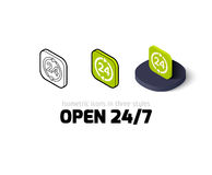 Open 24-7 icon in different style. Open 27-7 icon, vector symbol in flat, outline and isometric style Stock Image