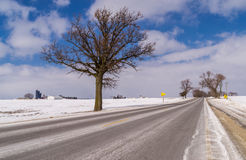 The open icy Highway. Royalty Free Stock Image