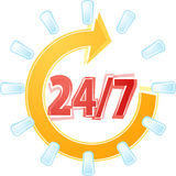 Open 24 by 7 Illustration clipart Stock Image
