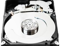 Open 3.5-inch sata hard disk drive box close up. Open internal 3.5-inch sata hard disk drive box close up isolated on white background Royalty Free Stock Photos