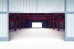 Open ingangsdeur aan de industriële bouw perspectiefmening Stock Foto's