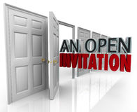 An Open Invitation Words Business Door Welcoming Customers Visit. An Open Invitation words coming out an opening door to illustrate a policy welcoming people stock illustration