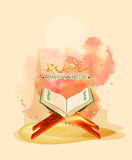 Open islamic book of Quran Shareef for muslim community festival celebration Royalty Free Stock Photo