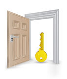 Open isolated doorway frame with golden key vector Stock Photos
