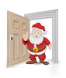 Open isolated doorway frame with Santa Claus vector Stock Images