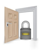 Open isolated doorway frame with security padlock vector Stock Photography