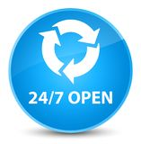 24/7 open elegant cyan blue round button. 24/7 open isolated on elegant cyan blue round button abstract illustration Stock Photo