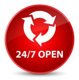 24/7 open elegant red round button. 24/7 open isolated on elegant red round button abstract illustration Royalty Free Stock Photography