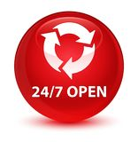 24/7 open glassy red round button Stock Photos