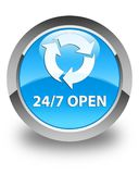 24/7 open glossy cyan blue round button. 24/7 open isolated on glossy cyan blue round button abstract illustration Royalty Free Stock Images