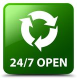 24/7 open green square button. 24/7 open isolated on green square button abstract illustration Stock Photography
