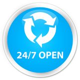 24/7 open premium cyan blue round button. 24/7 open isolated on premium cyan blue round button abstract illustration Stock Photography