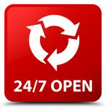 24/7 open red square button. 24/7 open isolated on red square button abstract illustration Stock Photo