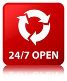24/7 open red square button. 24/7 open isolated on red square button reflected abstract illustration Stock Photo
