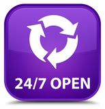 24/7 open special purple square button. 24/7 open isolated on special purple square button abstract illustration Stock Image