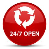 24/7 open special red round button. 24/7 open isolated on special red round button abstract illustration Stock Image
