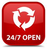 24/7 open special red square button. 24/7 open isolated on special red square button abstract illustration Stock Photo