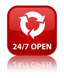 24/7 open special red square button. 24/7 open isolated on special red square button reflected abstract illustration Royalty Free Stock Photos