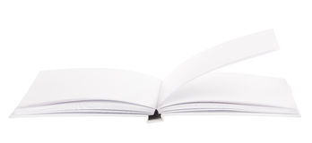 Open isolou o livro branco novo Fotos de Stock