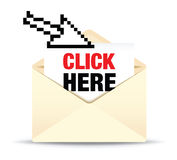 An open ivory envelope click here Stock Photo