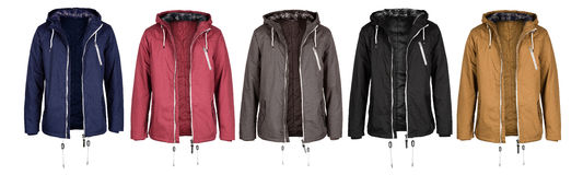 Open jacket in five colors. Isolated on white background Royalty Free Stock Photography