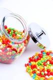 Open jar of candy stock photos