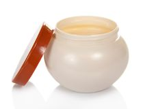 Open jar with the cosmetic cream Royalty Free Stock Photo