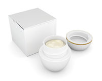 Open jar of cream next to the box. 3d. Stock Images