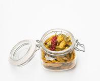 Open Jar of Dried Peppers Royalty Free Stock Photography